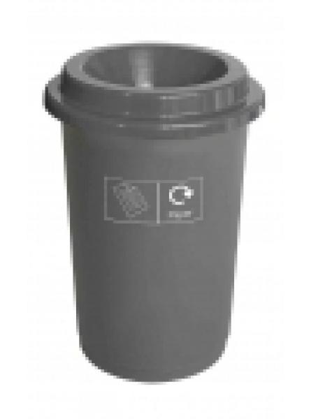 50L ROUND RECYCLING BIN GREY BASE GREY LID AND STICKERS