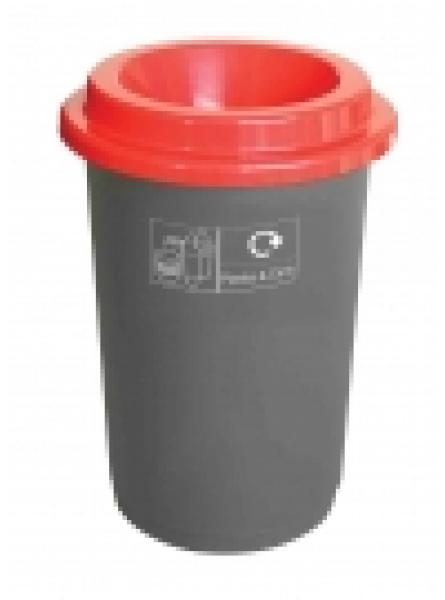 50l Round Recycling Bin Grey Base With Red Lid Stickers