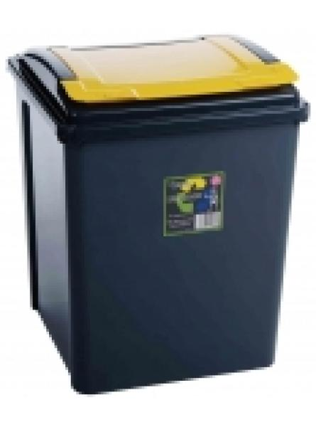 50Ltr Recycling Bin Grapite Body and Yellow Lid
