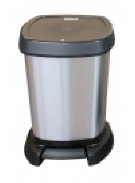 5Ltr PASO PLASTIC PEDAL BIN METALLIC SILVER AND BLACK