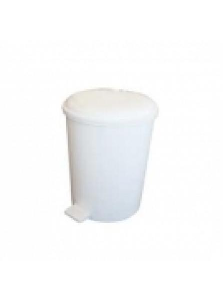 6 LITRE PLASTIC PEDAL BIN WHITE
