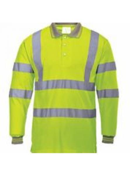 Flame Resistant Anti Static Hi Vis Long sleeve Polo shirt (FR77)
