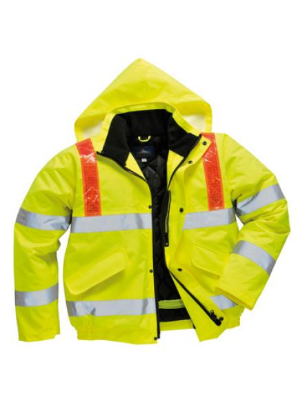 Hi Vis Bomber with Red Reflective Braces