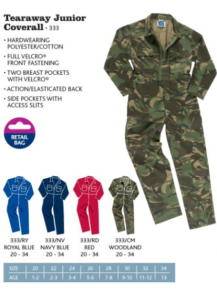 Tearaway Junior Coverall