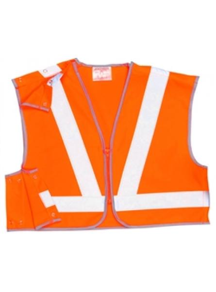 Hi Vis Orange 3 Part Mini Vest - Pop Studs Sides & Zip Front