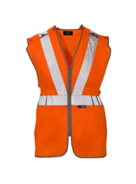 Hi Vis Orange 3 Part Vest - Pop Studs Sides & Zip Front