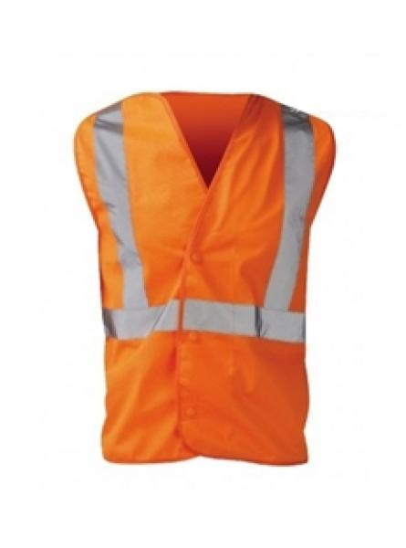 Hi Vis Orange 3 Part Vest - Velcro Sides & Pop Studs Front (LUL)