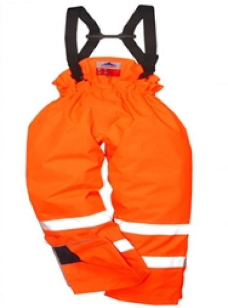Hi Vis Orange Flame Retardant Antistatic Lined Rail Trousers