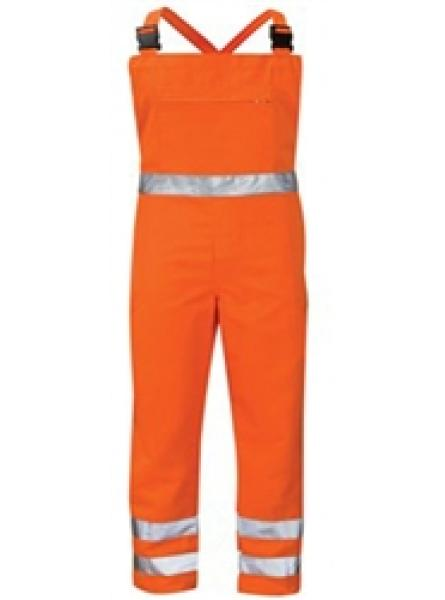 Hi Vis Orange Poly Cotton Rail Bib & Brace