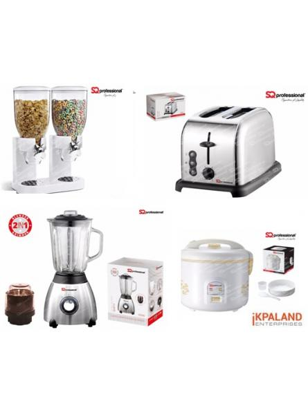 Matching Set:Toaster + Cereal dispenser + Blender + Rice Cooker 1.8L- Silver