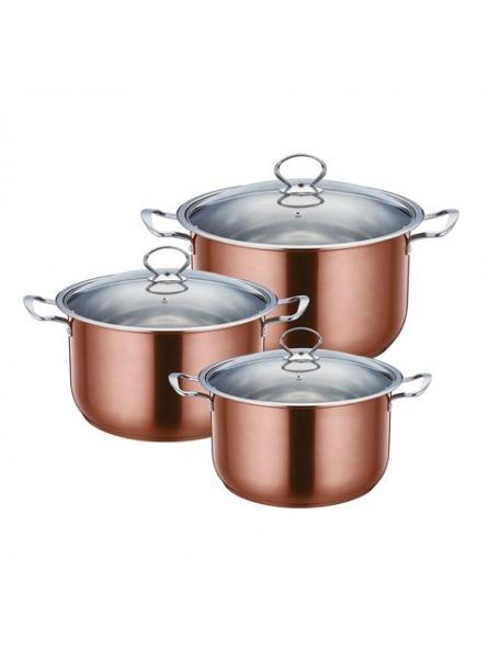 Gems Range Stainless Steel Casserole Set 3pc Stockpots With Lids - Copper