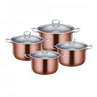 Gems range 4pc stainless steel casserole set stockpots with lids - copper