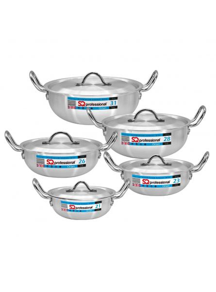 5PC Aluminium Karahi With  Lids  Cookware Set Karahi Pots And Pans Set 21cm-31cm