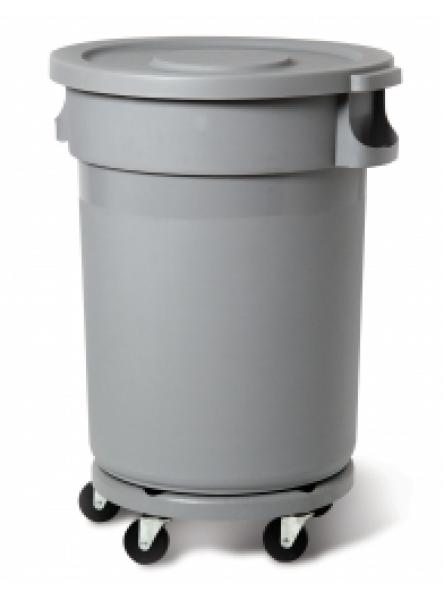 Round Container 80L - 21 1/8 Gal & Snap-On Lid & Dolly (RC-1213-GRY)