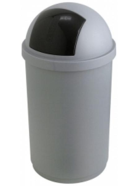 ROLL BIN 50 LTR PLASTIC SILVER AND BLACK