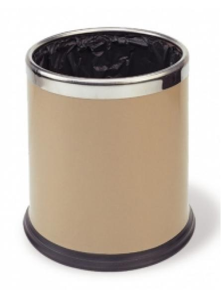 Round Waste Basket 10l Powder Coated  Ss Ring Beige