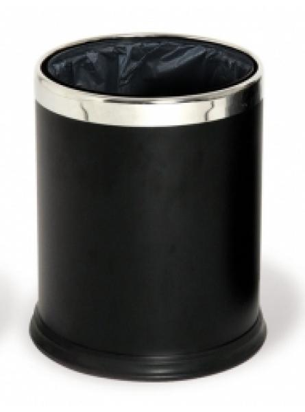 Round Waste Basket 10l Powder Coated Ss Ring Black